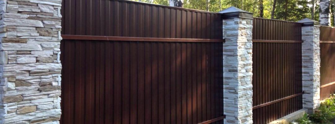 Забор из оцинкованного и окрашенного профлиста С8