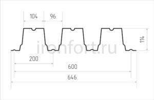 Схема профнастила H114-600
