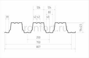 Схема профнастила H114-750